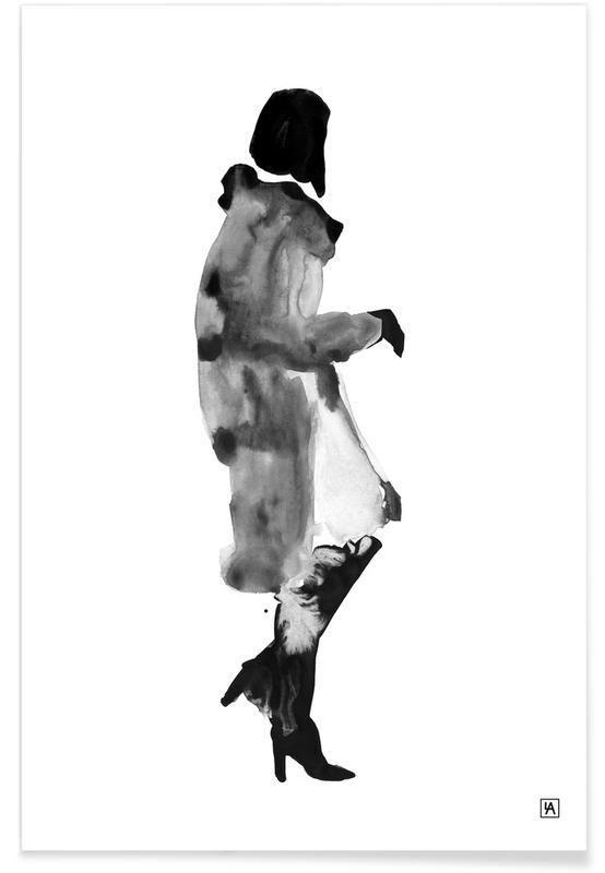 Noir & blanc, Illustrations de mode, Ink Woman affiche