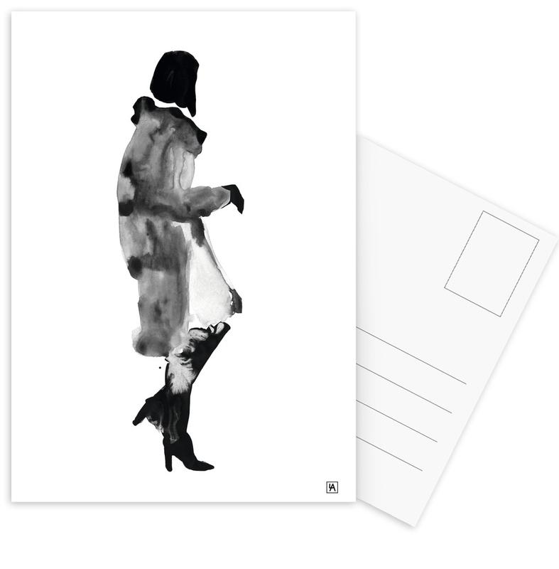 Schwarz & Weiß, Modeillustration, Ink Woman -Postkartenset