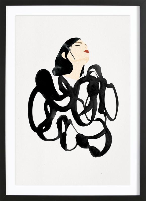 Ink Woman -Bild mit Holzrahmen