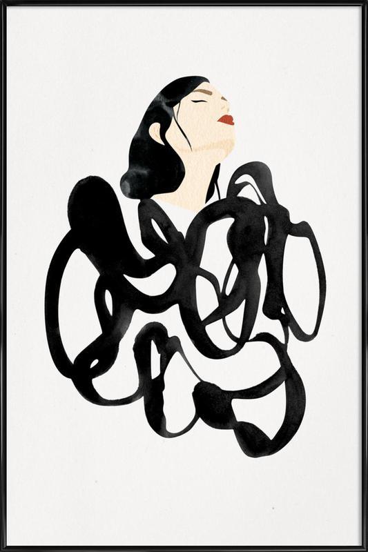 Ink Woman -Bild mit Kunststoffrahmen