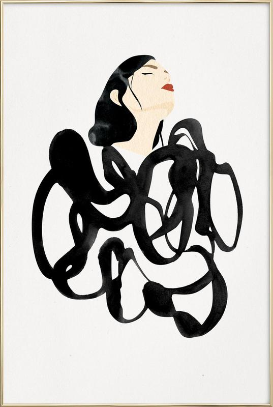 Ink Woman Poster in Aluminium Frame