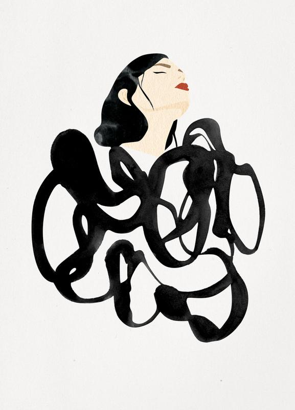 Ink Woman canvas doek