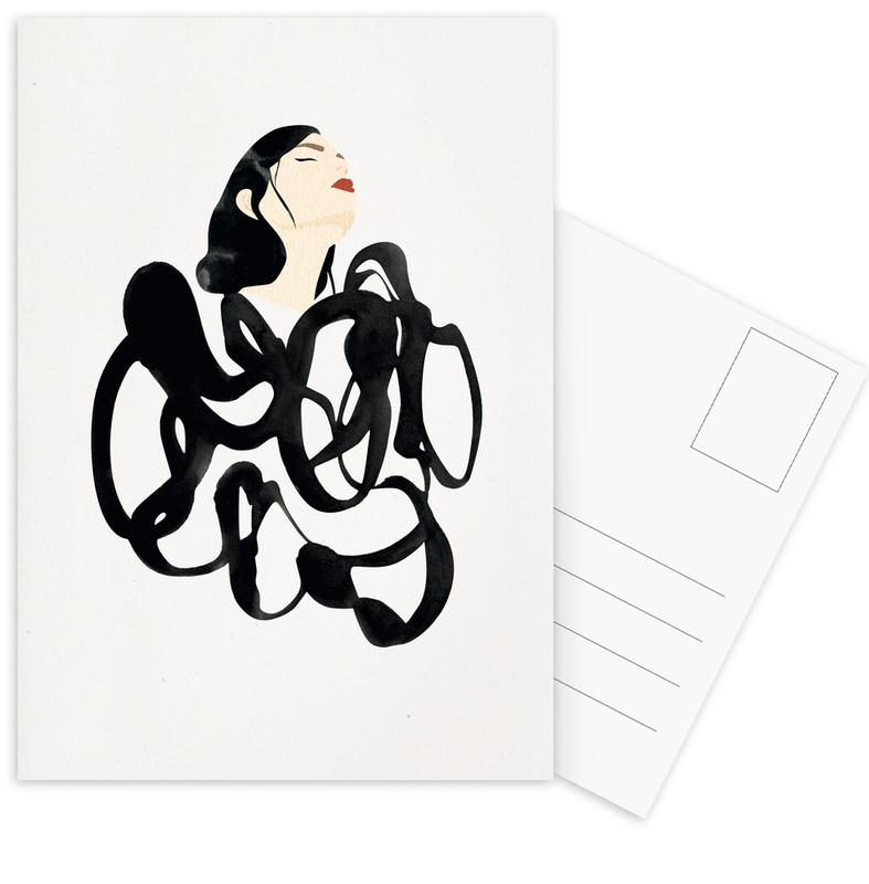 Zwart en wit, Mode-illustratie, Ink Woman ansichtkaartenset