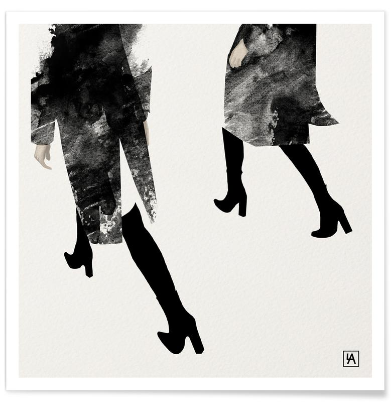 Zwart en wit, Mode-illustratie, BB Walk poster