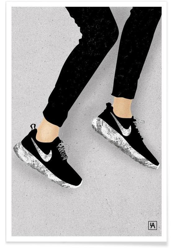 Zwart en wit, Mode-illustratie, Legs & Shoes 3 poster