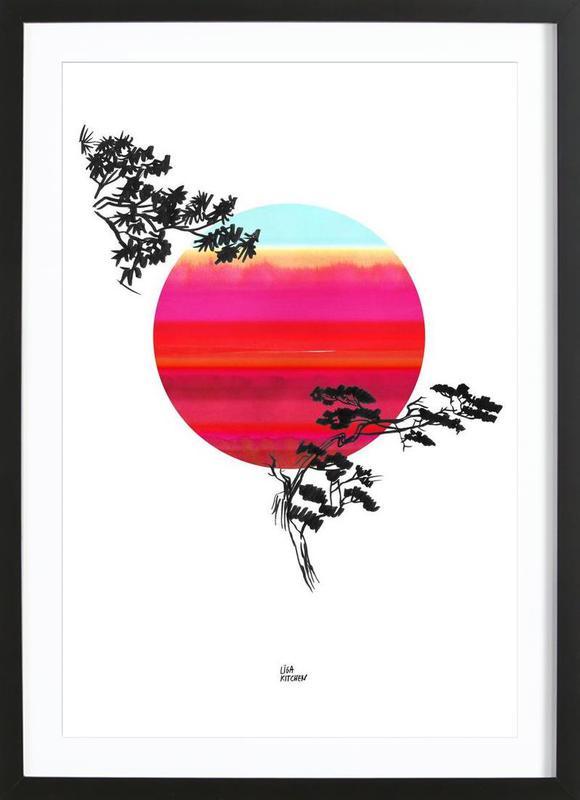 Japanese Sun affiche sous cadre en bois