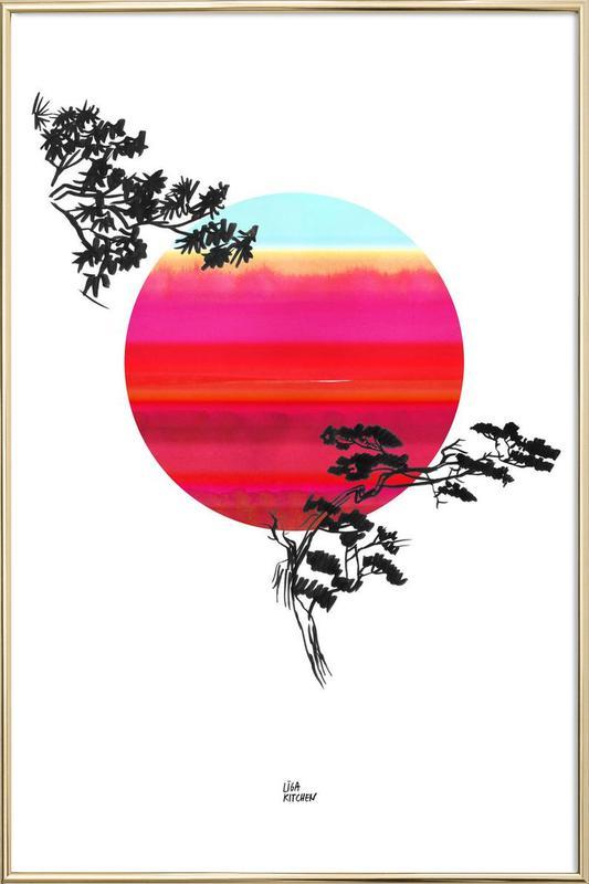 Japanese Sun Poster in Aluminium Frame
