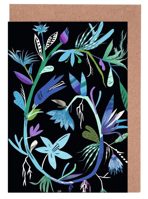, Botanica Clematis Black Greeting Card Set