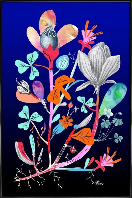 Botanica Blue -Bild mit Kunststoffrahmen