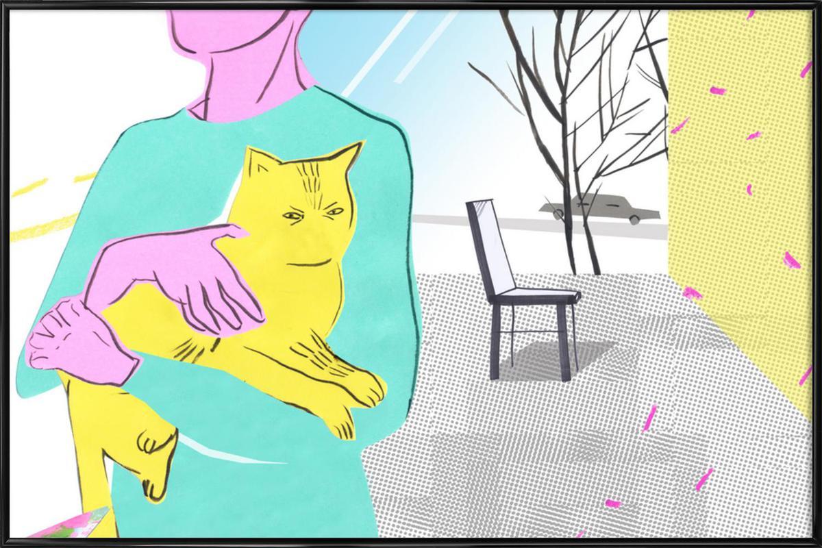 Woman with the Spoiled Cat -Bild mit Kunststoffrahmen