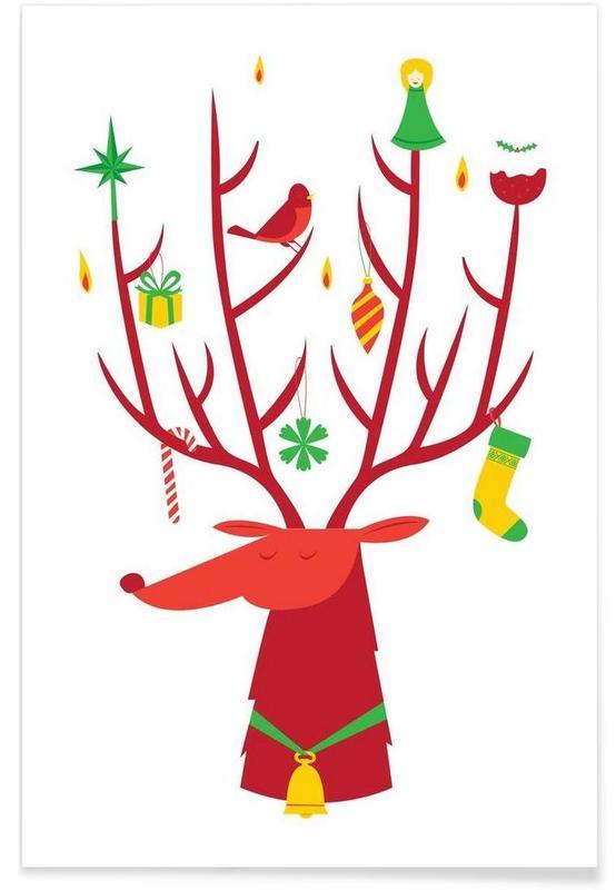 Cerfs, Noël, Reindeer affiche