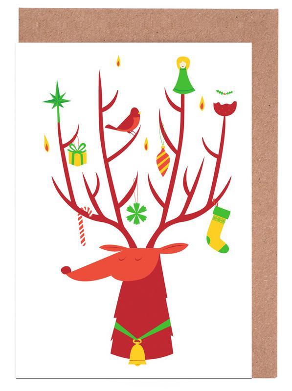 Deer, Christmas, Reindeer Greeting Card Set