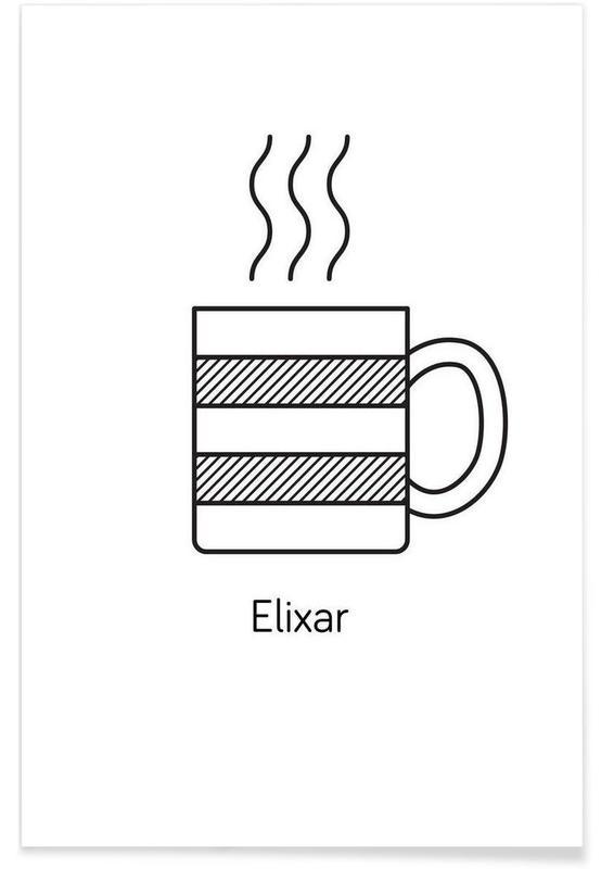 Black & White, Coffee, Elixar Poster