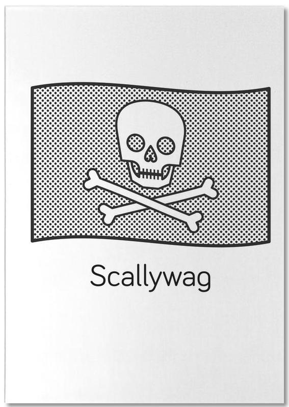 Schwarz & Weiß, Totenköpfe, Scallywag -Notizblock