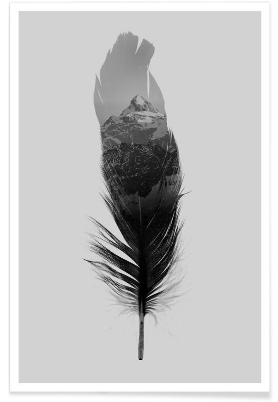 Noir & blanc, Plumes, Feather affiche