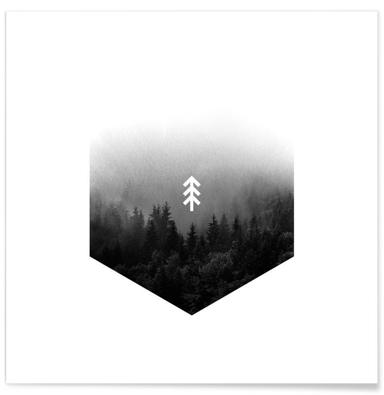 Schwarz & Weiß, Forest Hex -Poster