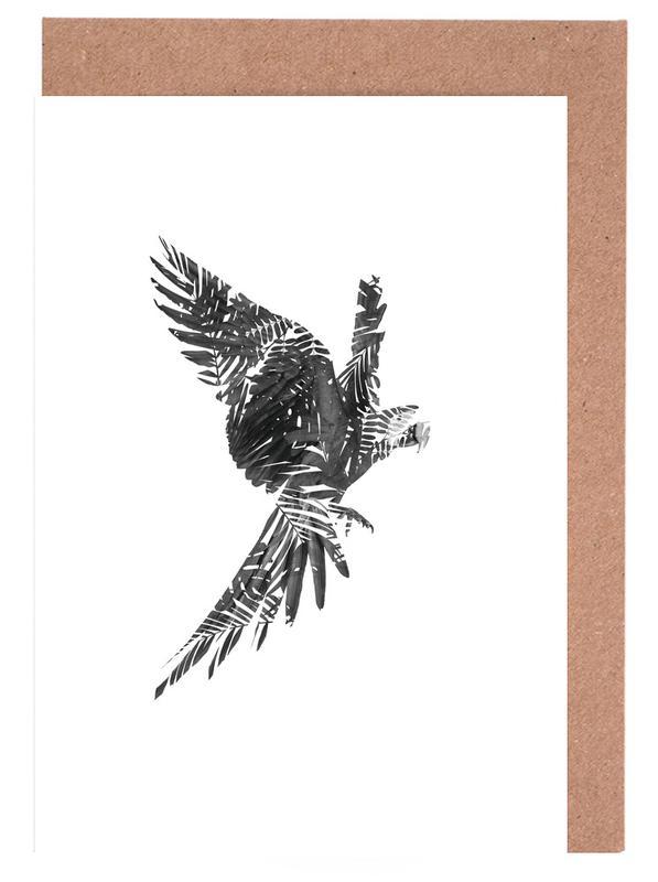 Noir & blanc, Perroquets, Parrot cartes de vœux