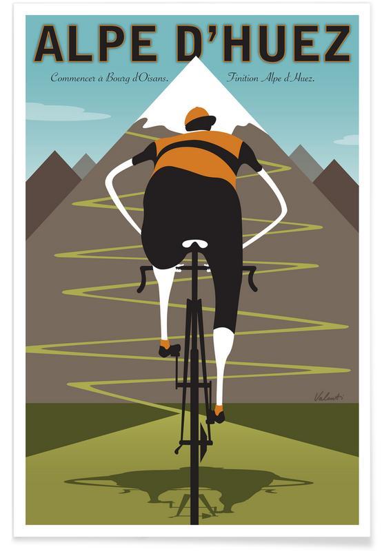 Cycling, Retro, Alpe d'Huez Poster