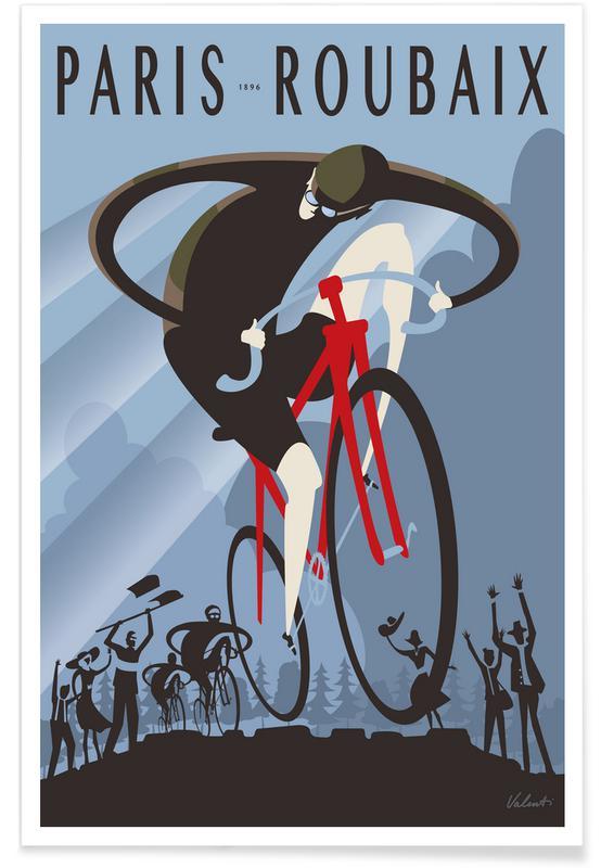 Cykling, Retro, Roubaix Plakat