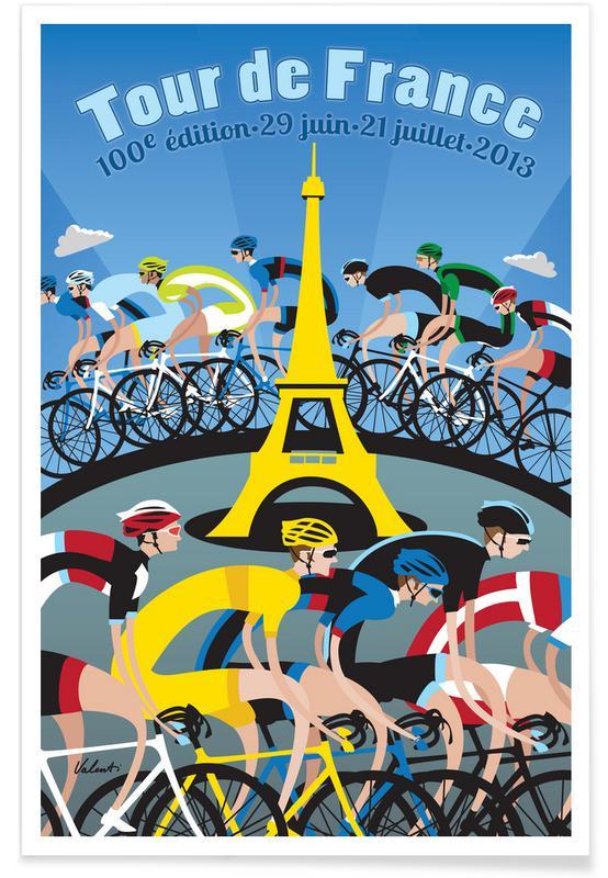 Retro, Cykling, Tour de France Plakat