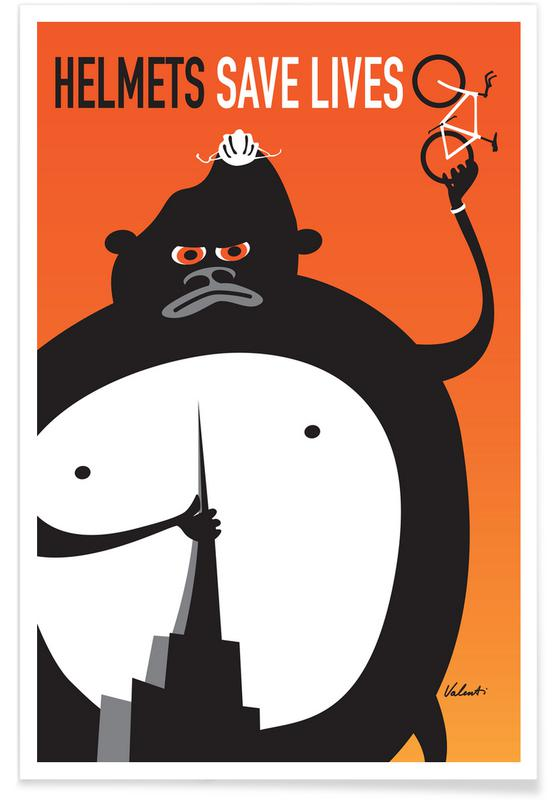 Bicycles, Funny, Gorilla Poster
