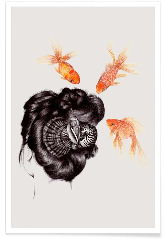 Fisk, Børneværelse & kunst for børn, Fish Hair 4 Plakat
