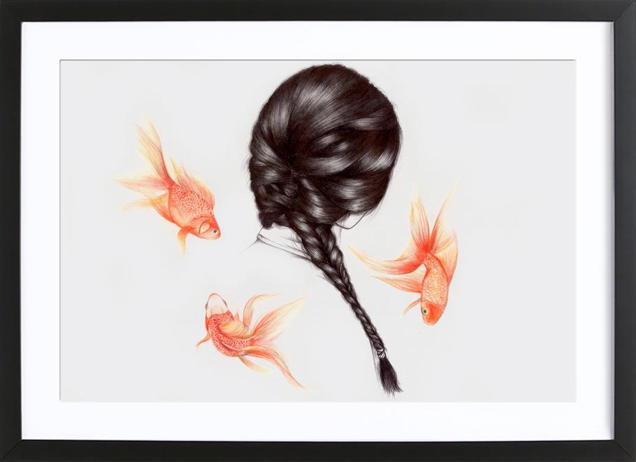 Fish Hair 1 affiche sous cadre en bois
