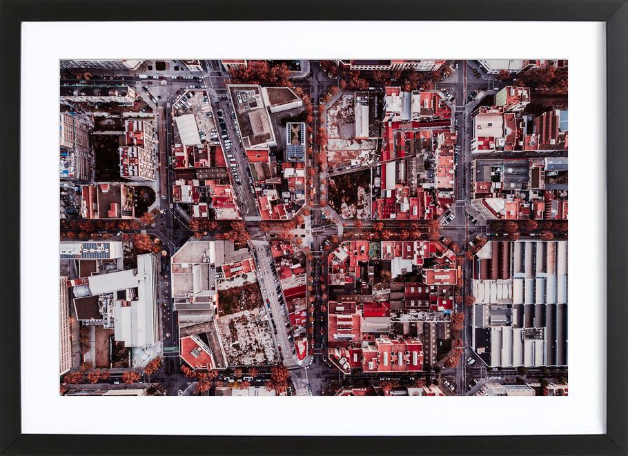 Barcelona ingelijste print
