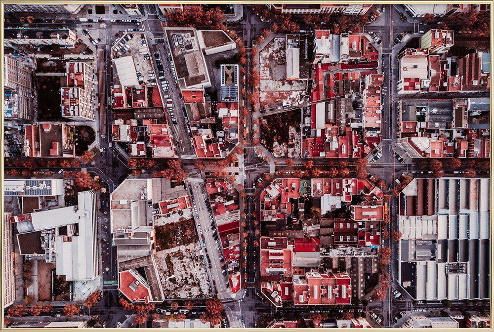 Barcelona Poster in Aluminium Frame