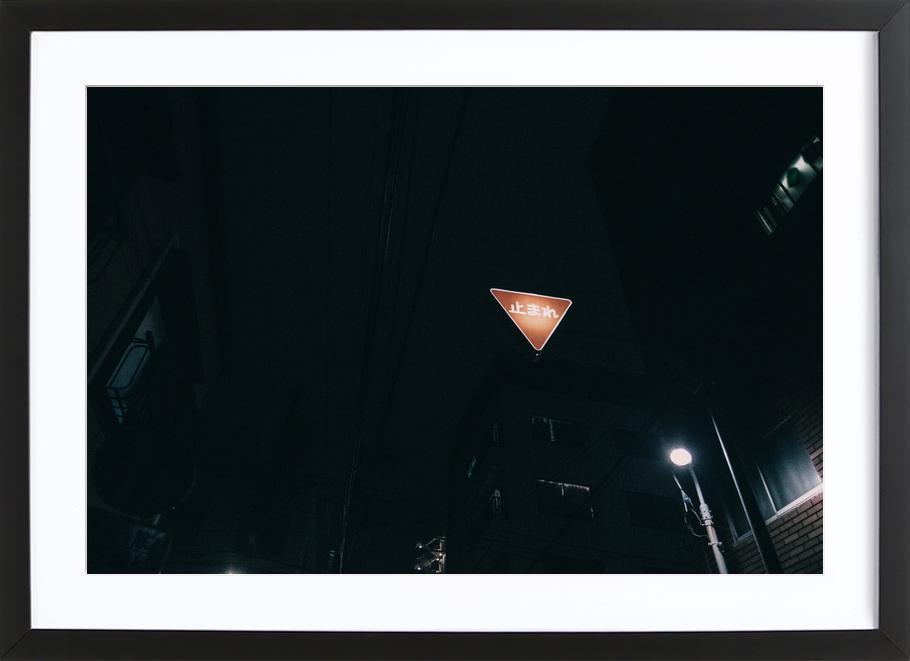 Tokio Nights -Bild mit Holzrahmen