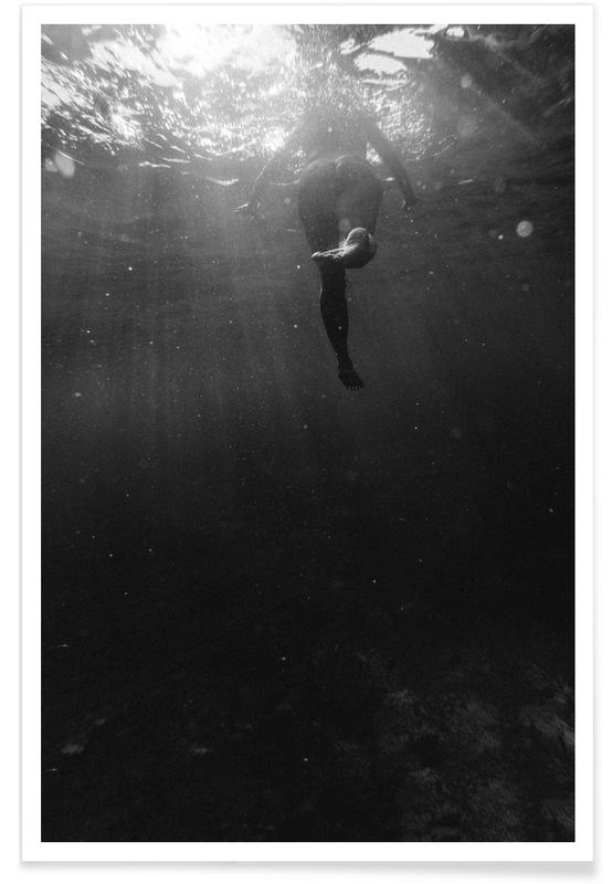 Océans, mers & lacs, Noir & blanc, Swim Away affiche