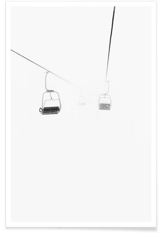 Ski & snowboard, Noir & blanc, Remontée mécanique dans la brume affiche