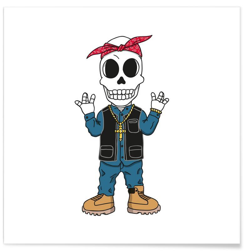 Hip Hop & Rap, West Coast Skull Poster