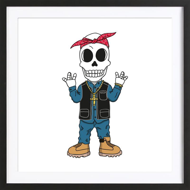 West Coast Skull affiche sous cadre en bois