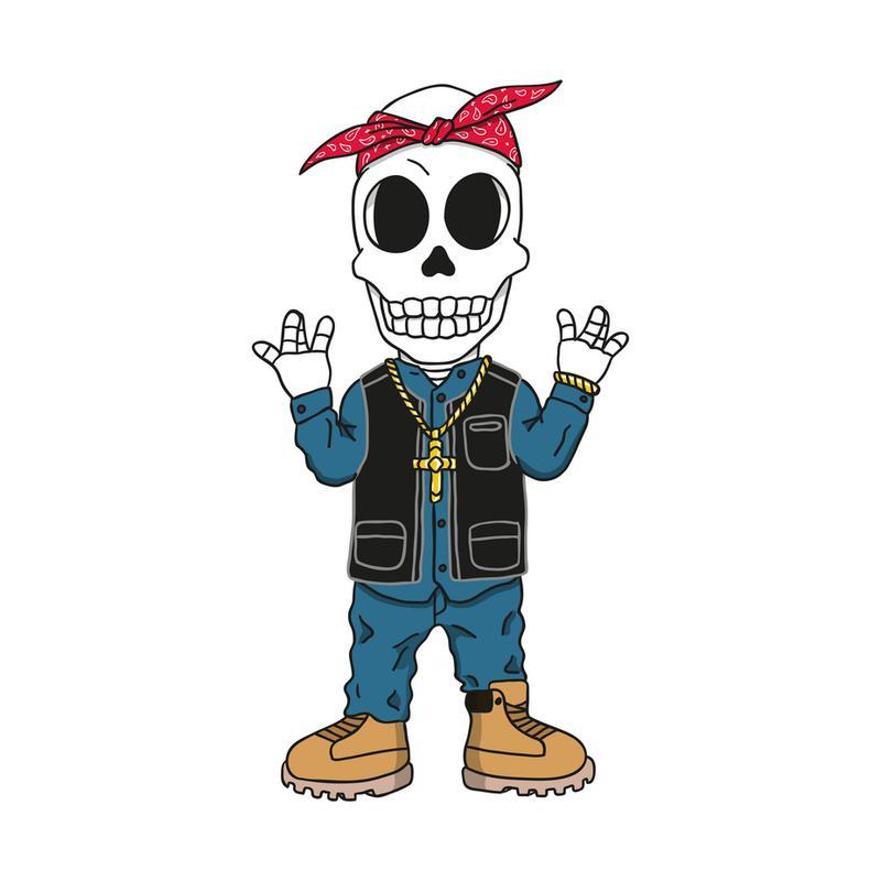 West Coast Skull tableau en verre