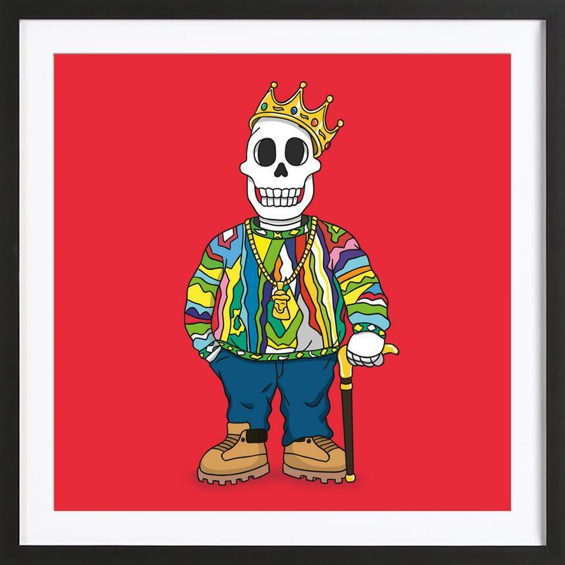 Biggie Skull -Bild mit Holzrahmen