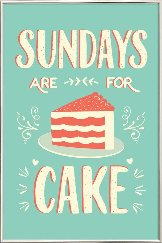 Sundays Are For Cake Poster in Aluminium Frame