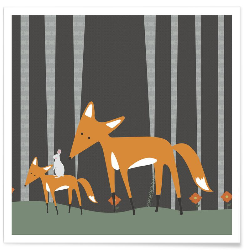 Foxes, Nursery & Art for Kids, In The Woods Poster