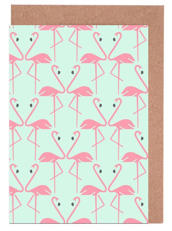 Pink Flamingos -Grußkarten-Set