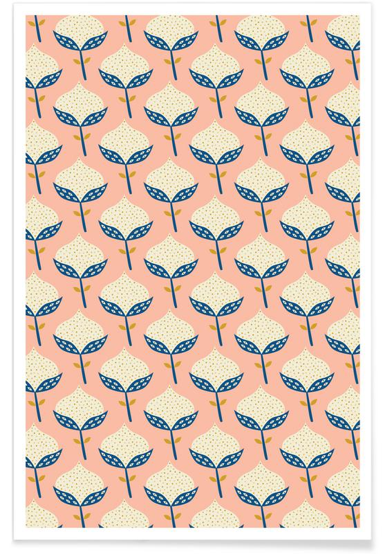 Scandinavian Flower Pattern poster