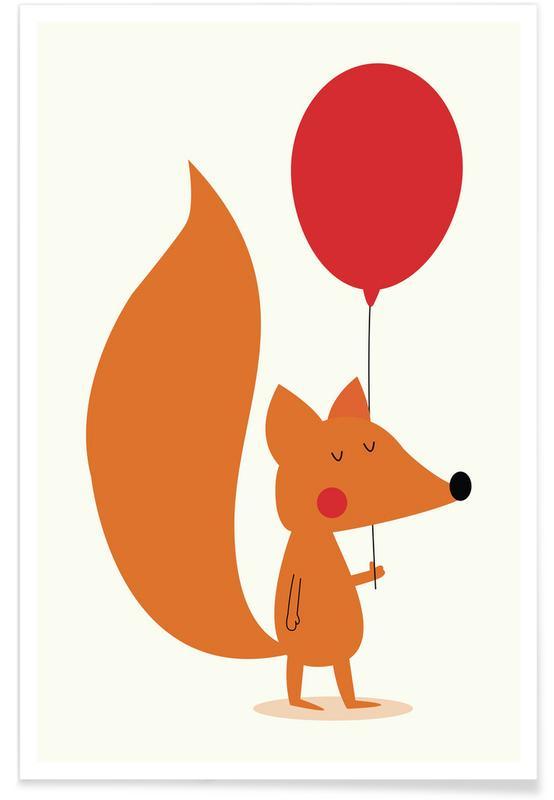 Art pour enfants, Renards, Anniversaires, Félicitations, Fox with a Red Balloon affiche