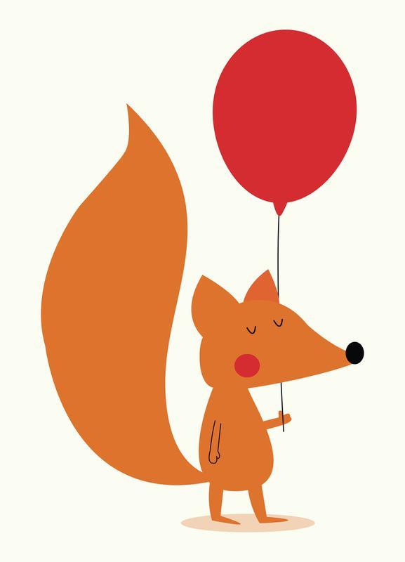 Fox with a Red Balloon -Leinwandbild