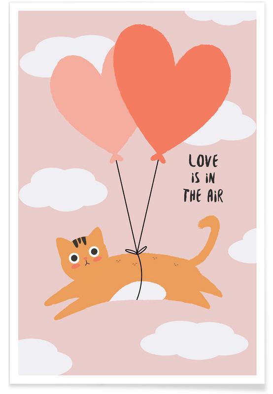 Kærlighedscitater, Katte, Årsdag & kærlighed, Valentinsdag, Love Is in the Air Plakat