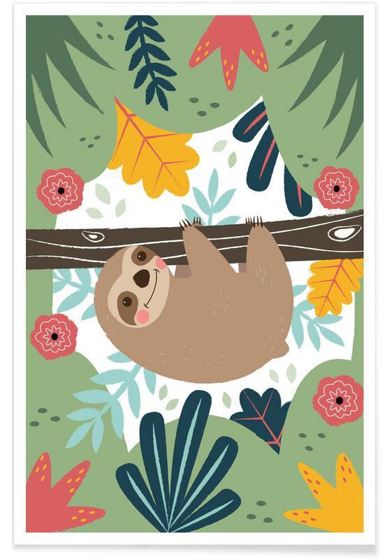 Kinderzimmer & Kunst für Kinder, Faultiere, Sloth -Poster