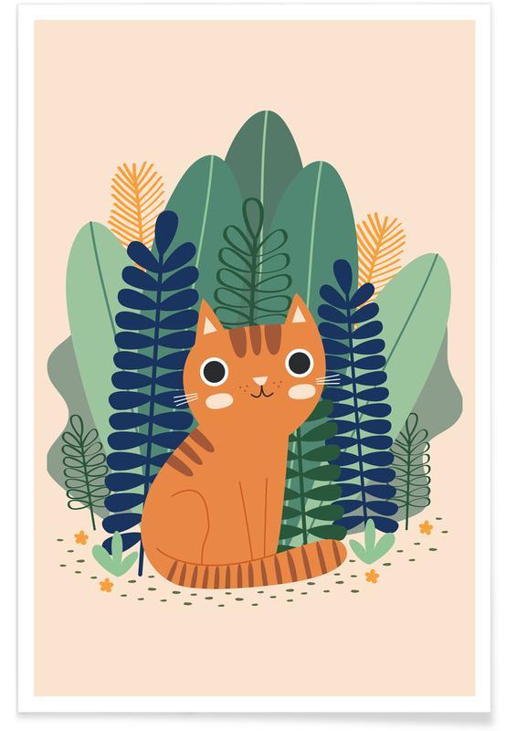 Orange Garden Cat poster