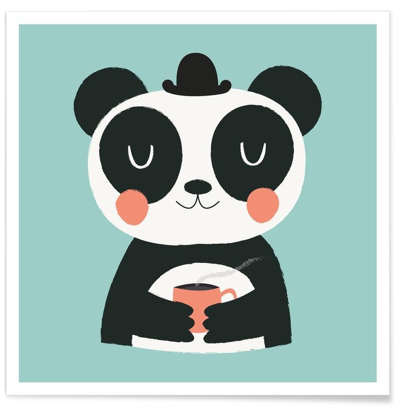 Art pour enfants, Pandas, Panda Loves Coffee affiche