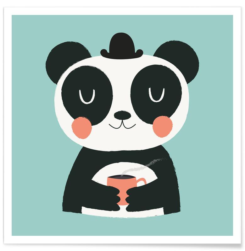Nursery & Art for Kids, Pandas, Panda Loves Coffee Poster
