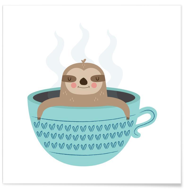 Art pour enfants, Paresseux, Sloth in A Cup affiche