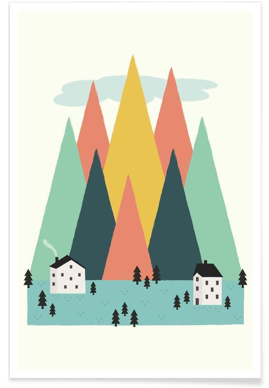 Montagnes, Art pour enfants, The High Mountains affiche