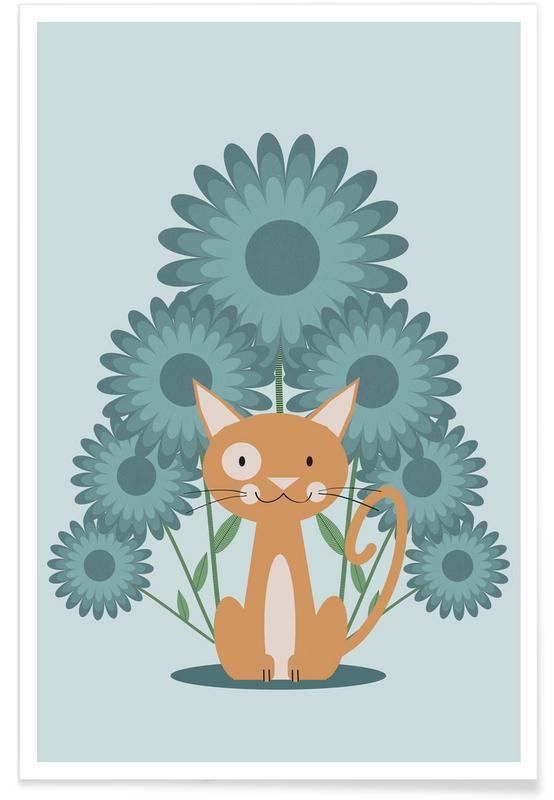 Katten, Kunst voor kinderen, Cat In The Flowerfield poster